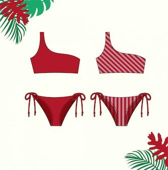 女性のビキニのイラスト、夏、ファッションフラットスケッチテンプレートの赤いビキニ水着。
