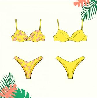 女性のビキニ、夏、ファッションフラットスケッチテンプレートの黄色いビキニ水着のイラスト。