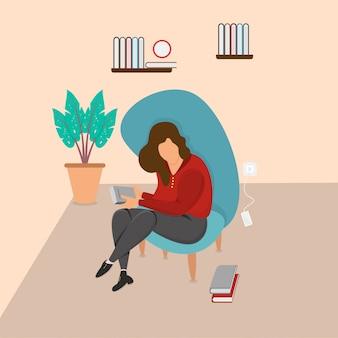소파에서 책을 읽고 앉아있는 여자의 그림