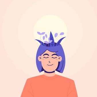 女性の良いメンタルヘルスの概念のイラスト