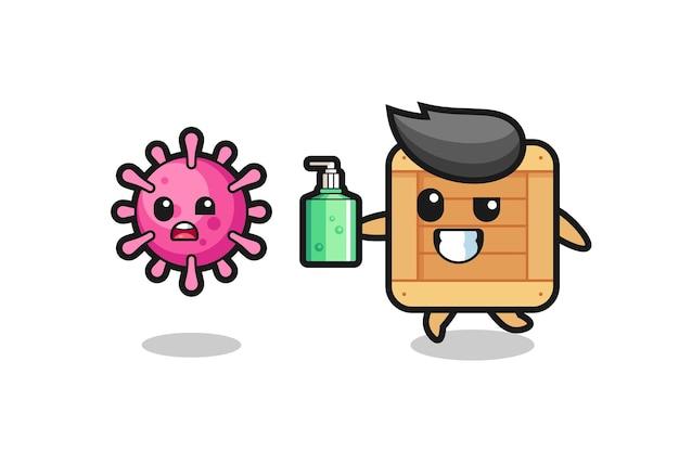 손 소독제로 사악한 바이러스를 쫓는 나무 상자 캐릭터의 그림, 티셔츠, 스티커, 로고 요소를 위한 귀여운 스타일 디자인