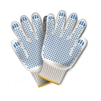 労働者の手袋のイラスト。白で隔離