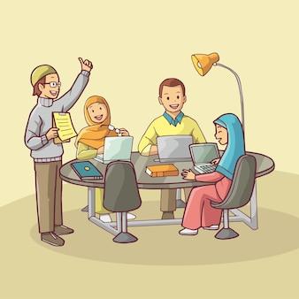 Иллюстрация рабочих, обсуждающих в офисе