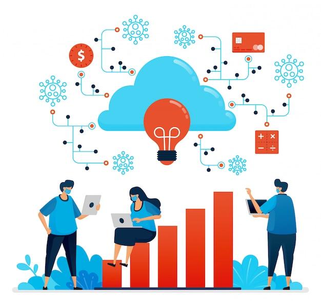 Иллюстрация работы во время пандемии covid 19 с облачными вычислениями. новая нормальная сеть финансовой безопасности. дизайн может быть использован для целевой страницы, веб-сайта, мобильного приложения, плаката, флаера, баннера