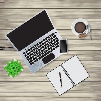 Иллюстрация элементов рабочего места на деревянном фоне. блокнот, ручка, кофейная чашка, ложка, скрепки, цветок в горшочке, блокнот.