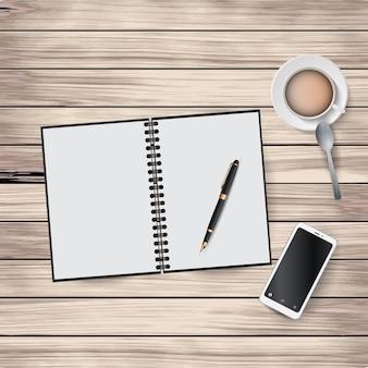 Иллюстрация элементов рабочего места на деревянном фоне. блокнот, ручка, кофейная чашка, ложка, смартфон.