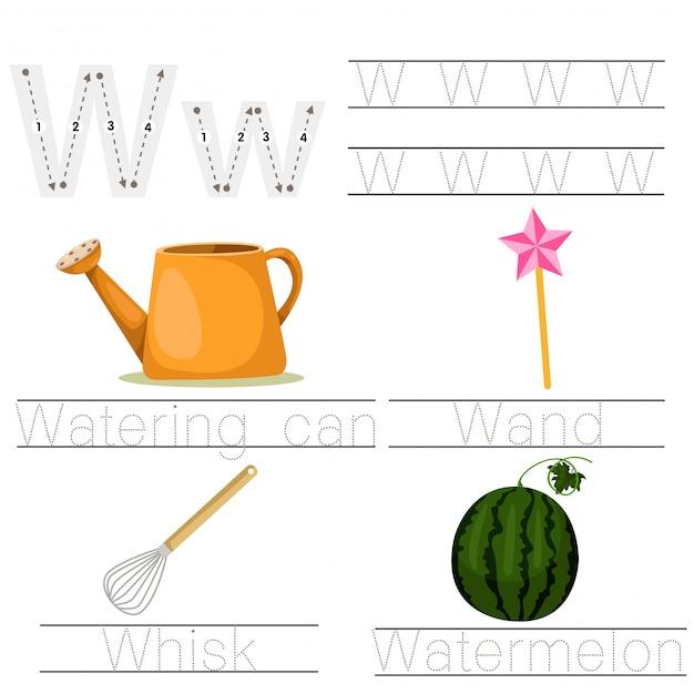 어린이 w 글꼴에 대한 워크 시트의 그림