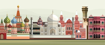 Illustration of world famous landmarks