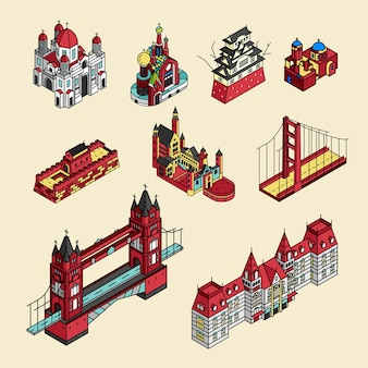 Illustration of world well known tourist spots collection