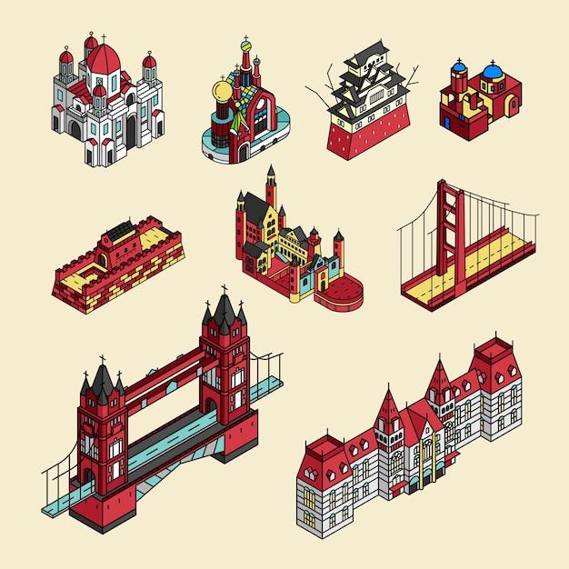 世界的に有名な観光スポットコレクションのイラスト