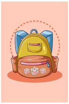 노란색 파란색 학교 가방의 그림