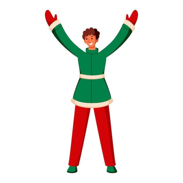 緑と赤のウールの服を着ている少年のイラスト