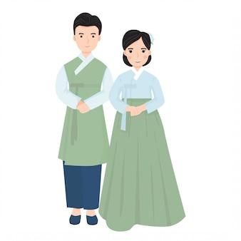 한국 전통 웨딩 드레스에 젊은 부부의 그림