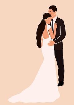 Иллюстрация молодой пары в день свадьбы