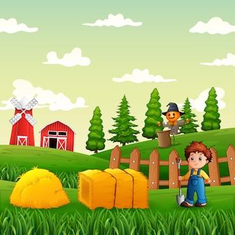 Иллюстрация молодого фермера, работающего на сельскохозяйственных угодьях