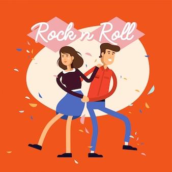 Иллюстрация молодых женских и мужских персонажей в классе танца рок-н-ролл.