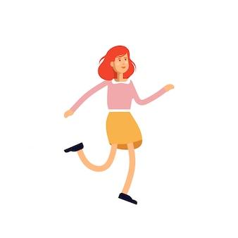 白い背景で踊る若い女性キャラクターのイラスト。