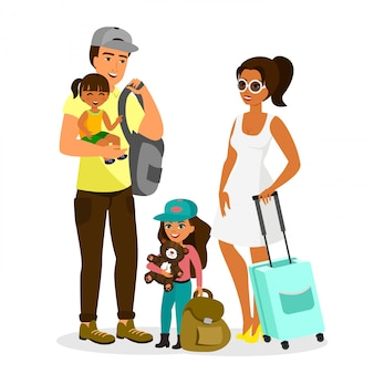 旅行の子供たちと若い幸せな家族のイラスト。父、母、息子、娘が一緒に白い背景の上のフラットスタイルのバッグと立っています。