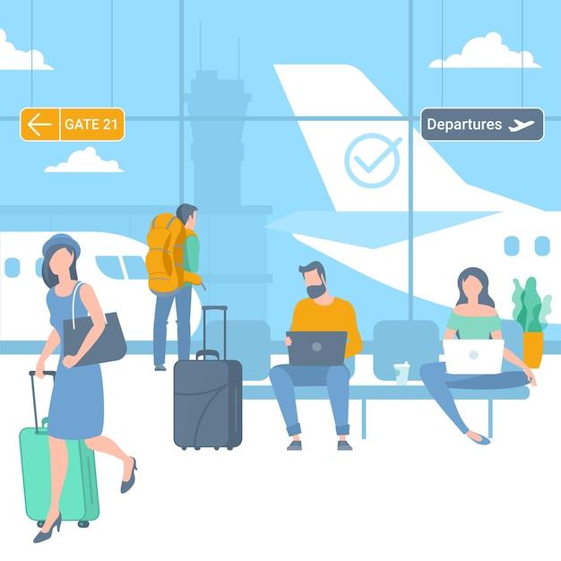 Иллюстрация молодых мужчин и женщин, путешественников в зоне вылета аэропорта