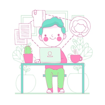 在宅勤務の若い男のイラスト