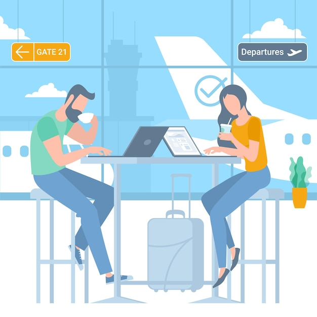 비행기를 기다리는 공항 출발 지역에서 젊은 남성과 여성 여행자의 그림