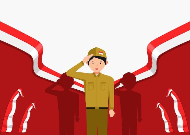 8月17日にインドネシアの独立記念日を祝う若い男性のイラスト