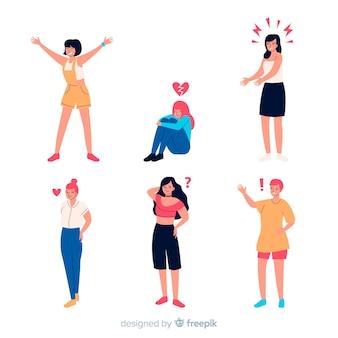 Иллюстрация молодых людей эмоций