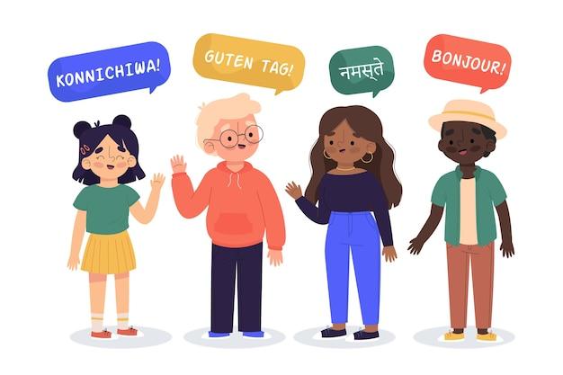 さまざまな言語のコレクションで話している若者のイラスト
