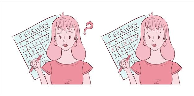 Иллюстрация молодой женщины, сбитой с толку из-за нерегулярных месячных