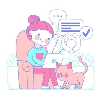 在宅勤務の若い女性のイラスト