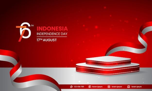 8월 17일 인도네시아 독립 기념일을 위한 깃발을 들고 있는 젊은이의 그림