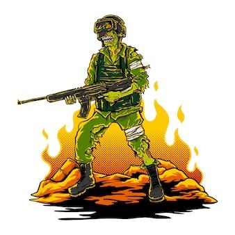 Иллюстрация зомби-солдата