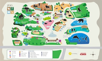 Illustration of zoo park map