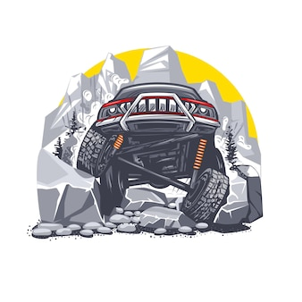 Illustration of an off road red car overcoming difficult obstacles in the mountains