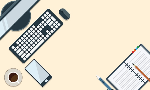 Illustration of office desk and stationary in flat style top view