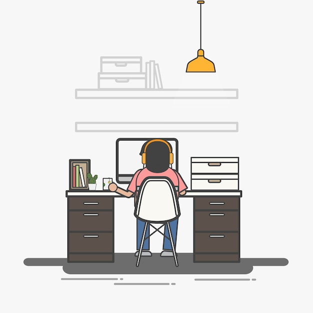 Illustration of office worker avatar