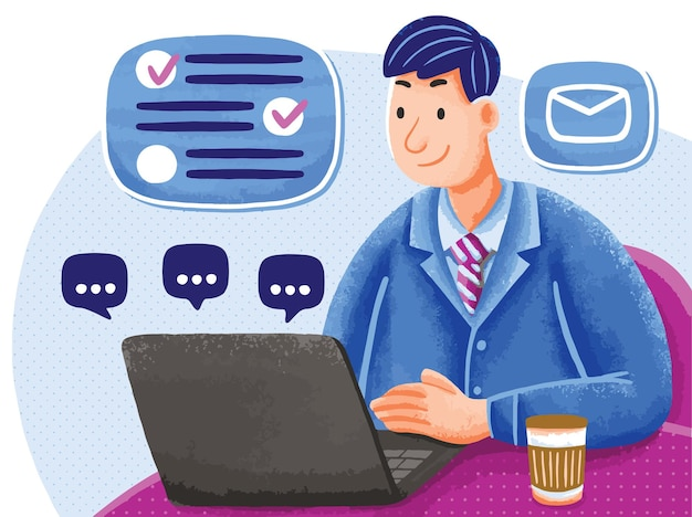 Illustration of office worker in flat design style