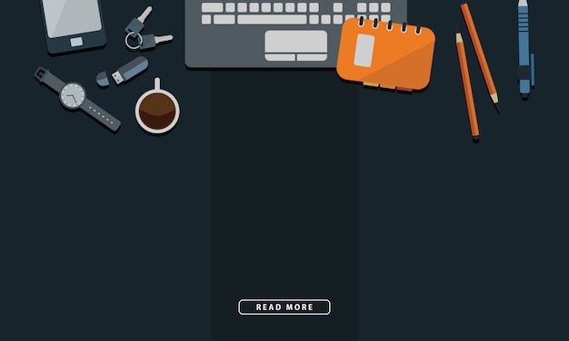 Illustration of office workspace table computer business flat design top view. free space text