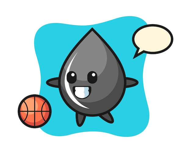 Illustration of oil drop cartoon is playing basketball