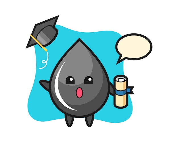 Illustration of oil drop cartoon throwing the hat at graduation