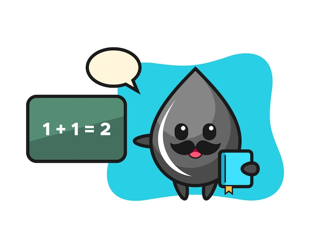 Illustration of oil drop character as a teacher