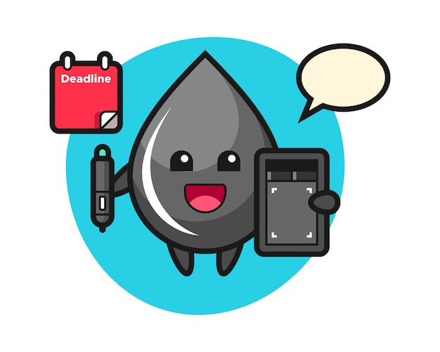 Illustration of oil drop mascot as a graphic designer