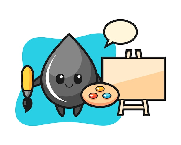 Illustration of oil drop mascot as a painter