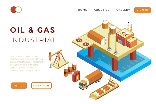 Illustration of oil and gas production, oil refineries, and product distribution in isometric 3d illustration