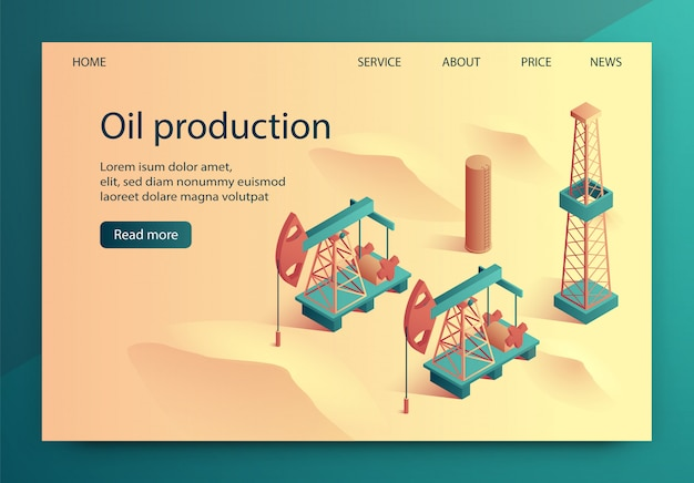 Illustration oil production isometric lettering.