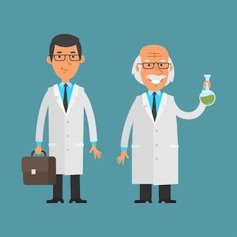 일러스트레이션, 서 있고 웃고 있는 노인과 젊은 과학자, 형식 eps 10