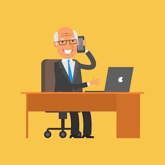 イラスト、電話で話している老人実業家、フォーマットeps 10