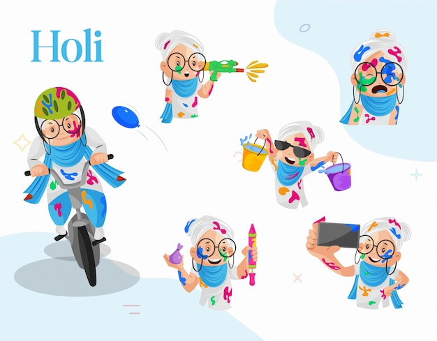 Illustration of old lady celebrating holi character set
