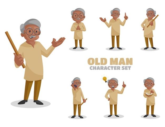 Illustration of old man character set