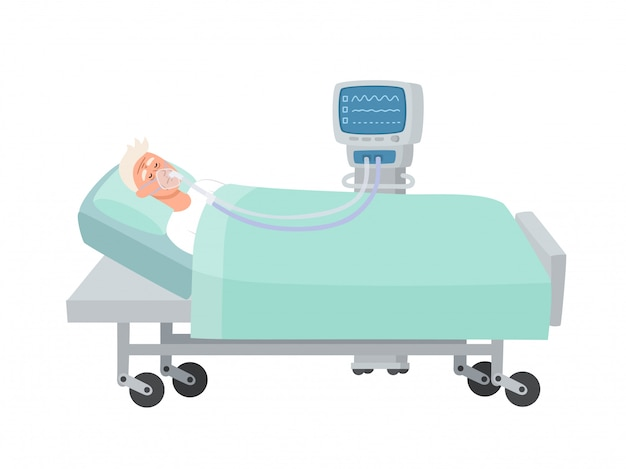 Illustration of old man lying in hospital bed with oxygen mask and ventilator isolated on white, man in reanimation during coronavirus infection